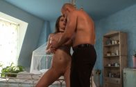 Hot chick fucks huge cock in the bedroom