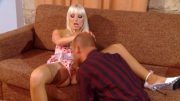 Platinum blonde slut rides big cock wildly